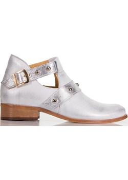 Srebrne botki z wycięciami Lewski okazja Lewski shoes - kod rabatowy