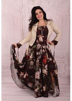 Szyfonowa sukienka AURORA brązowa w kwiaty Oscar Fashion Oscar Fashion - kod rabatowy