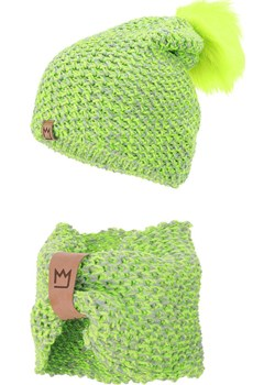 Zestaw czapka z pomponem i komin wełniany, limonkowo-szary Mimi TuSzyte - kod rabatowy