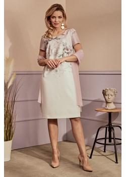RÓŻA sukienka z szyfonowym szalem Risca 42 Risca okazja RiscaShop - kod rabatowy