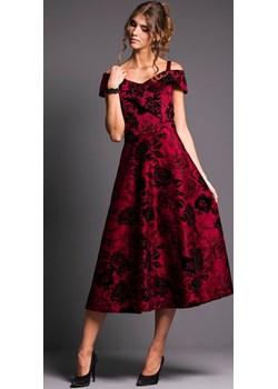 DEBORA rozkloszowana sukienka  na wesele bordowa M-XXL Risca  38 Risca RiscaShop - kod rabatowy