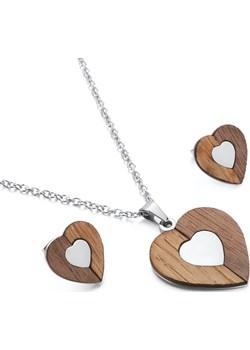 Komplet drewnianej biżuterii Heart Silver Woodfi Woodfi - kod rabatowy