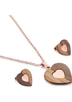 Komplet drewnianej biżuterii Heart Rose Gold Woodfi Woodfi - kod rabatowy