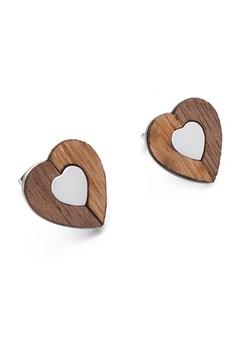 Drewniane kolczyki Heart Silver Woodfi Woodfi - kod rabatowy