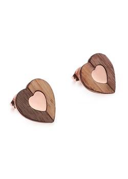 Drewniane kolczyki Heart Rose Gold Woodfi Woodfi - kod rabatowy