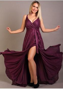 Fioletowa sukienka Jessica  z brokatem Oscar Fashion Oscar Fashion - kod rabatowy