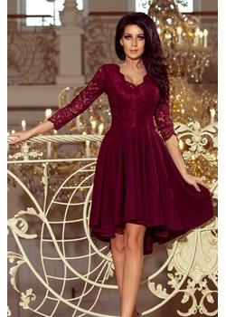 210-1 NICOLLE - sukienka z dłuższym tyłem z koronkowym dekoltem - BORDOWA Numoco okazyjna cena jewely.pl - kod rabatowy