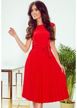 311-1 LILA Plisowana sukienka z krótkim rękawkiem - CZERWONA Numoco okazja jewely.pl - kod rabatowy