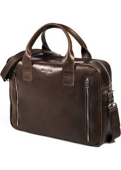 Skórzana torba na ramię teczka brodrene R02 ciemny brąz Brødrene Brodrene - kod rabatowy