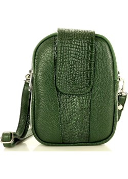 Marco Mazzini Torebka skórzana listonoszka messenger z dwoma zamkami zielony cocco Genuine Leather Verostilo - kod rabatowy