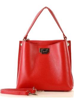 MARCO MAZZINI Torebka kuferek crossbody elegance ze skóry naturalnej czerwień makowa Genuine Leather Verostilo - kod rabatowy