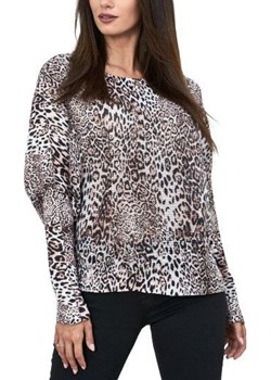 Włoski Sweter Ażurowy Panterka Brąz WygodnaModa - kod rabatowy