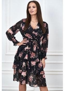 Sukienka w kwiaty z falbanami Włoska Moda WygodnaModa - kod rabatowy