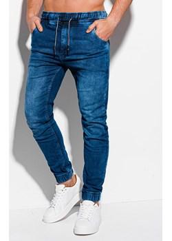 Spodnie męskie jeansowe joggery 868P - ciemnoniebieskie Edoti.com Edoti.com - kod rabatowy