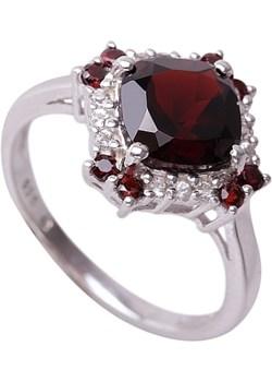 PIERŚCIONEK NELL RED  ; Srebrny pierścionek, zaręczynowy z granatami i topazami czarny Braccatta  - kod rabatowy