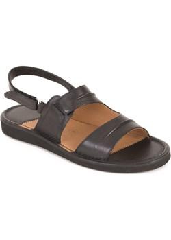Skórzane sandały damskie - czarne Obuwie Krzysiek obuwiekrzysiek - kod rabatowy