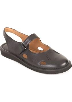 Skórzane sandały damskie ażurowe - czarne Obuwie Krzysiek obuwiekrzysiek - kod rabatowy