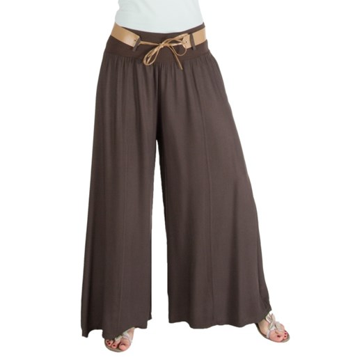 Szerokie brązowe spodnie z paskiem moodify pl szary damskie