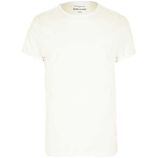 White pocket crew neck t-shirt river-island  t-shirty