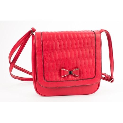 Czerwona mała torebka listonoszka z kokardką