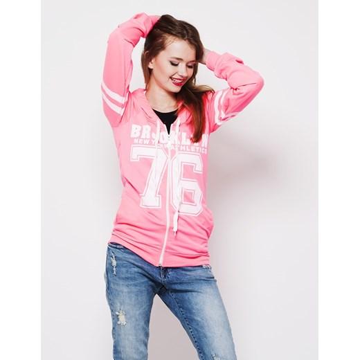 Neonowa bluza z kapturem factoryprice rozowy Bluzy rozpinane