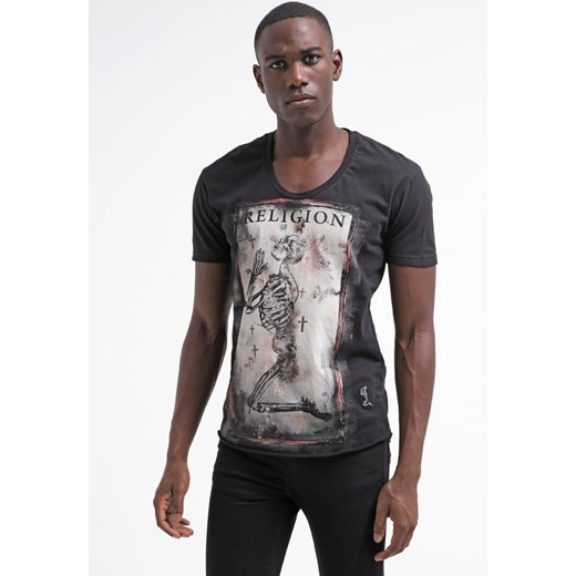 Religion CORNER SKELETON Tshirt z nadrukiem jet black zalando szary abstrakcyjne wzory