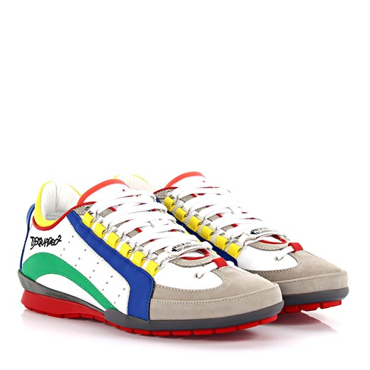 Dsquared Mężczyźni Sneakersy 551 Vitello Sport nubuk szarobrązowe białe Dsquared2 bialy