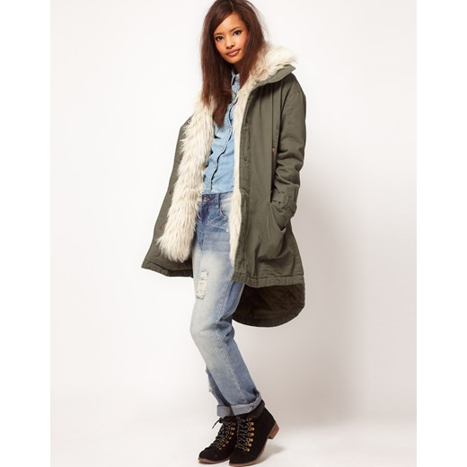 Płaszcz Asos Oversize Khaki Parka With Fur Hooded  pandzior-pl-new-vogue  płaszcz