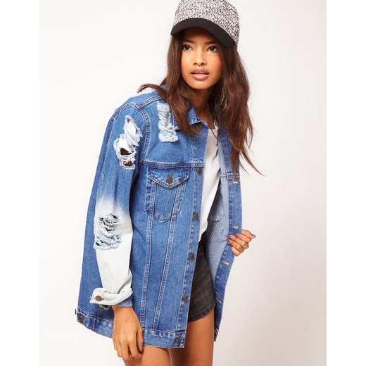 Kurtka Asos Denim With Rips And Bleach Detail  pandzior-pl-new-vogue  kurtki
