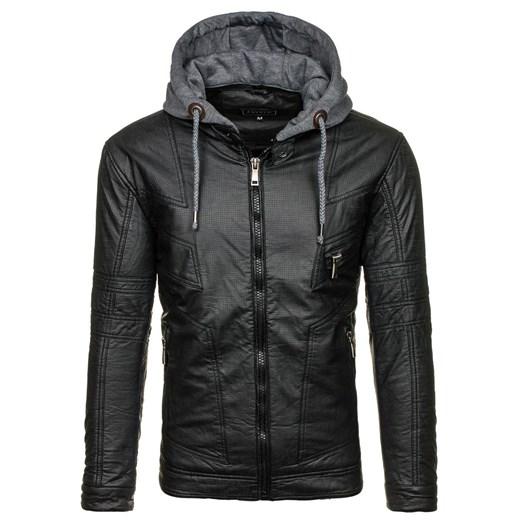 Czarna kurtka męska skórzana Denley 3102 J.Style Denley.pl w