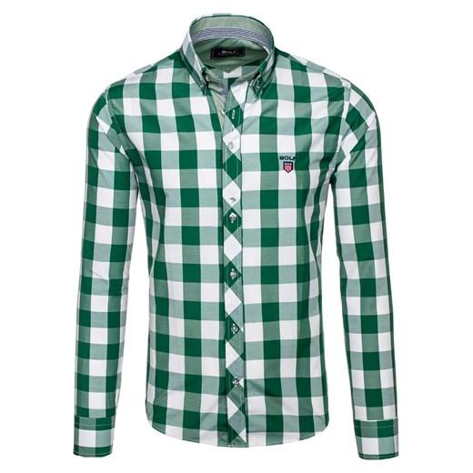 Zielona koszula męska w kratę z długim rękawem Bolf 6888  QEhGB
