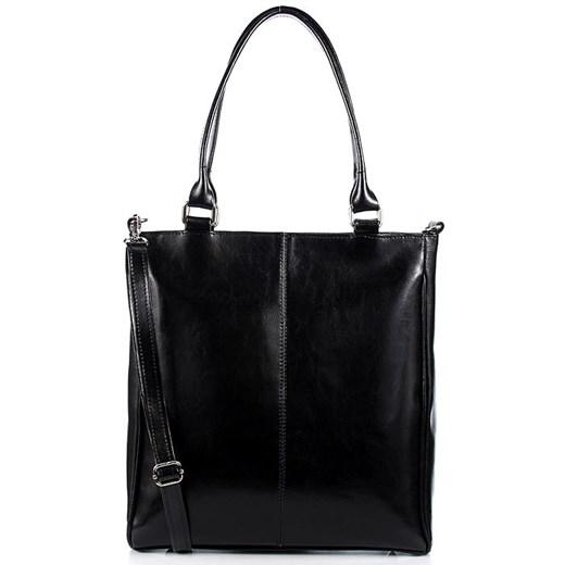 Czarna torebka skórzana damska aktówka DAN A T177B bialy