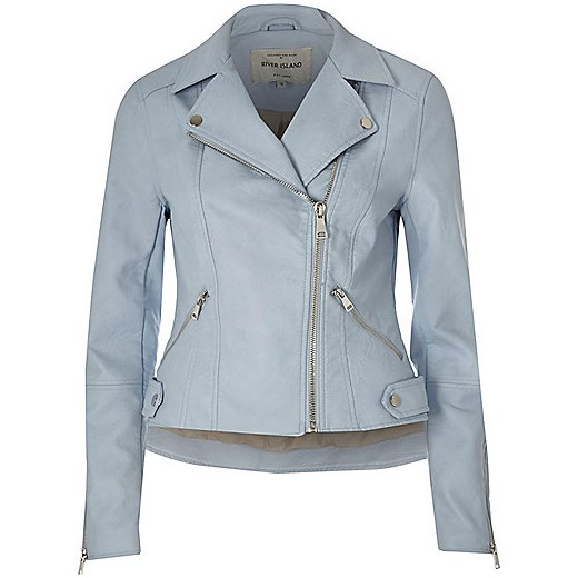 Blue faux leather biker jacket  szary River Island