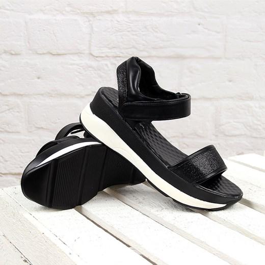 Czarne sandały damskie sportowe na rzep Wishot ButyRaj.pl w