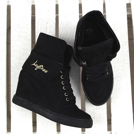 Czarne sneakersy wywijane na koturnie Lu Boo ButyRaj.pl w Domodi
