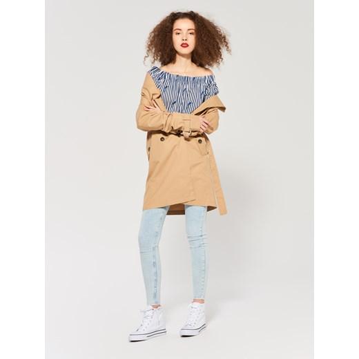 Sinsay Jeansy skinny high waist fit Niebieski pomaranczowy