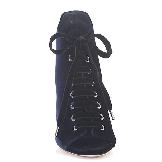 Jimmy Choo Kobiety Sznurowane botki z odkrytymi palcami Mavy 100 aksamit niebieskie