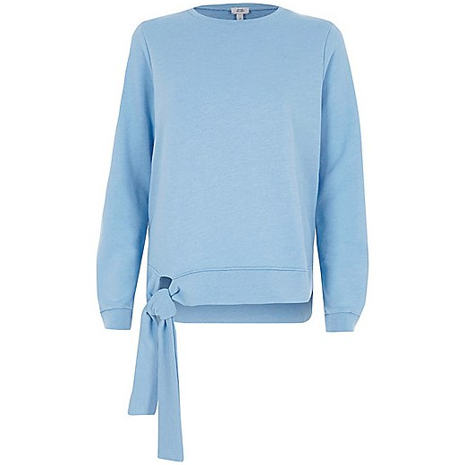 Light blue tie hem sweatshirt   River Island