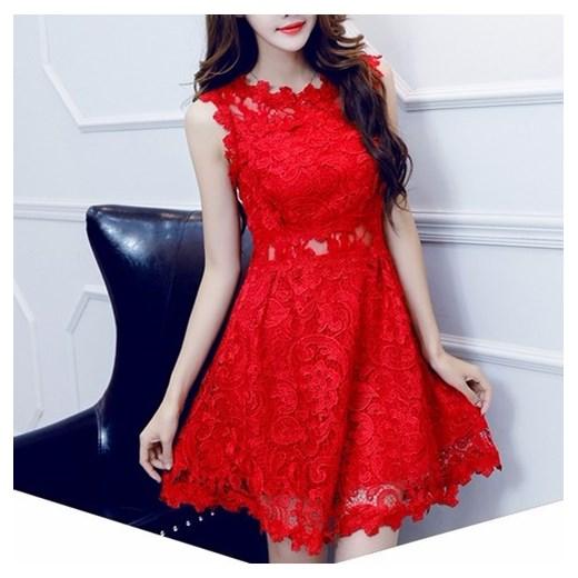 Seksowna sukienka z czerwonej koronki S zielony SOTHE