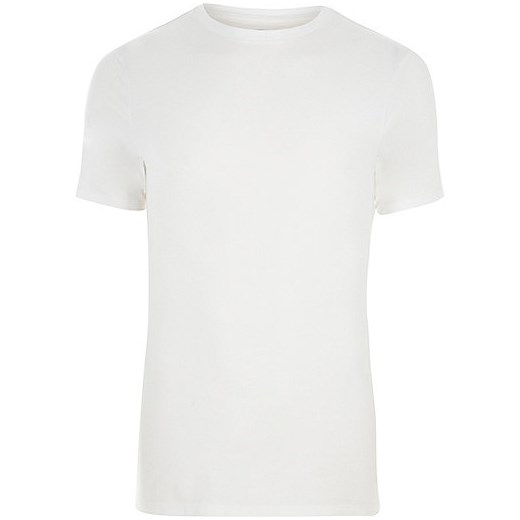 White muscle fit short sleeve T-shirt  szary River Island