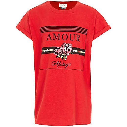 Girls red 'always amour' print T-shirt  pomaranczowy River Island