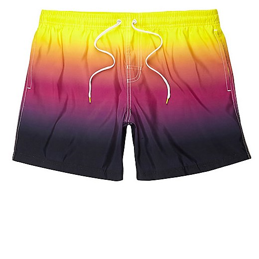 Yellow tie dye swim shorts  zolty River Island