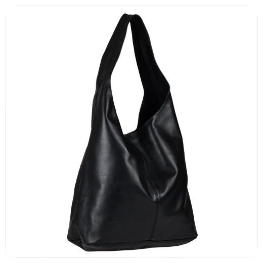 Genuine Leather torebka skórzana łańcuszek czarna