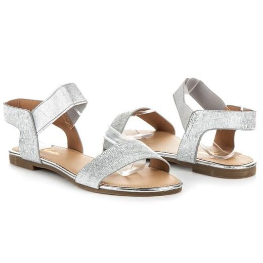 Białe sandały damskie Primawera bez wzorów1 na płaskiej