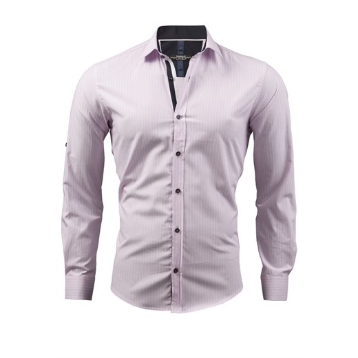 Koszula męska slim fit jasny róż SKL1565 koszula długi