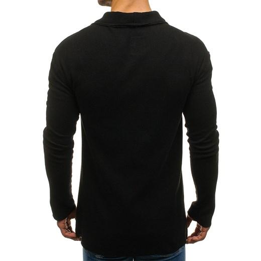 Długi sweter męski rozpinany czarny Denley 0908 Denley.pl w