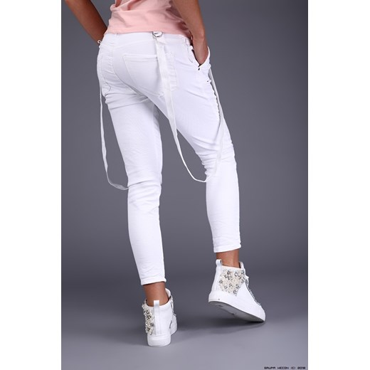 spodnie damskie melly&co ** półsportowe białe jeansy na