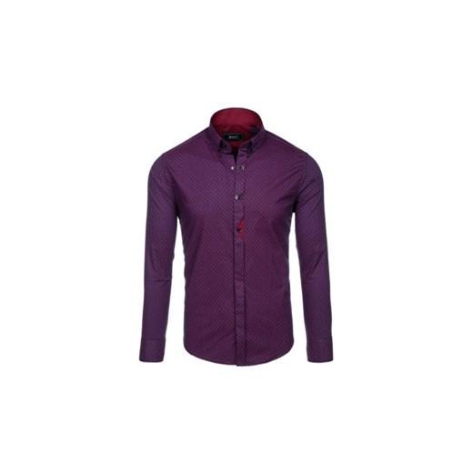 Koszula męska we wzory z długim rękawem bordowa Bolf 7716