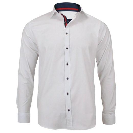 Elegancka, Biała Koszula Męska, Długi Rękaw, Krój Prosty