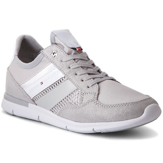 Sneakersy TOMMY HILFIGER - Metallic Light Weight Sneaker FW0FW02996  Diamond Grey 001 szary Tommy Hilfiger 39 eobuwie.pl
